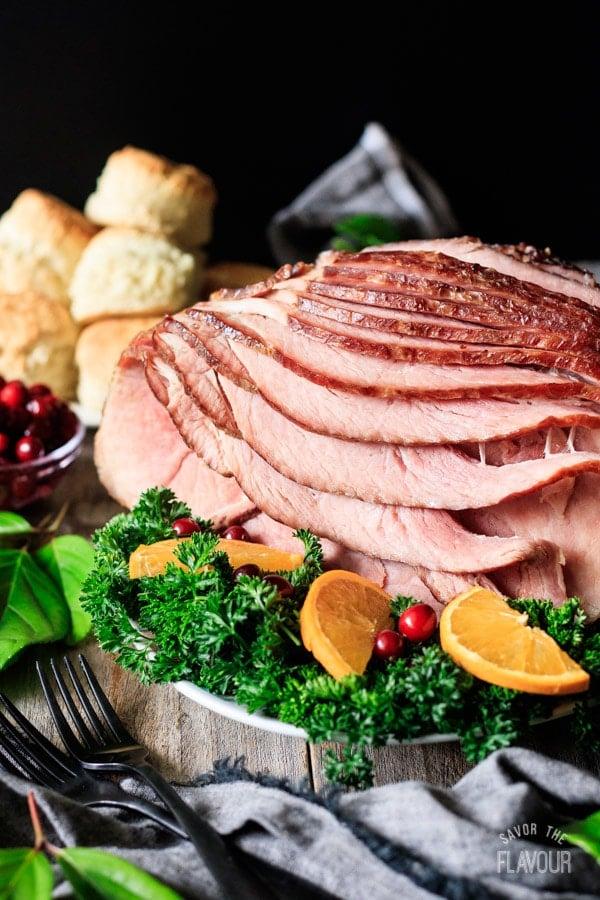 spiral ham on a platter
