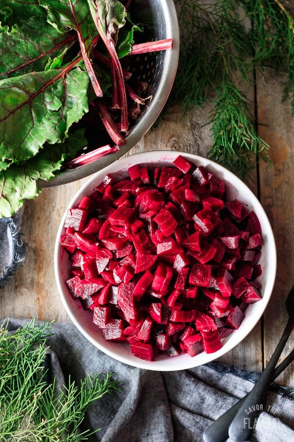 a bowl of diced boiled beets