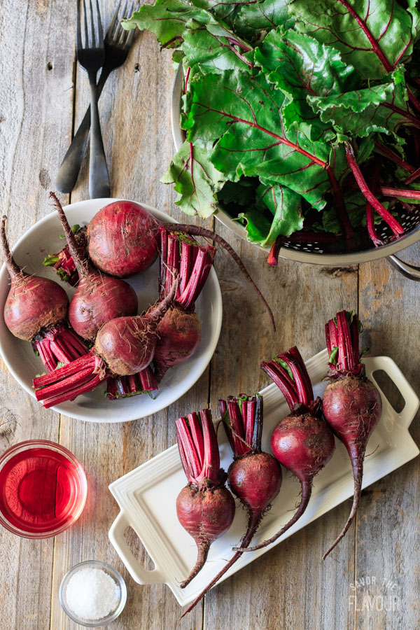 beet roots with red wine vinegar, salt, and beet greens