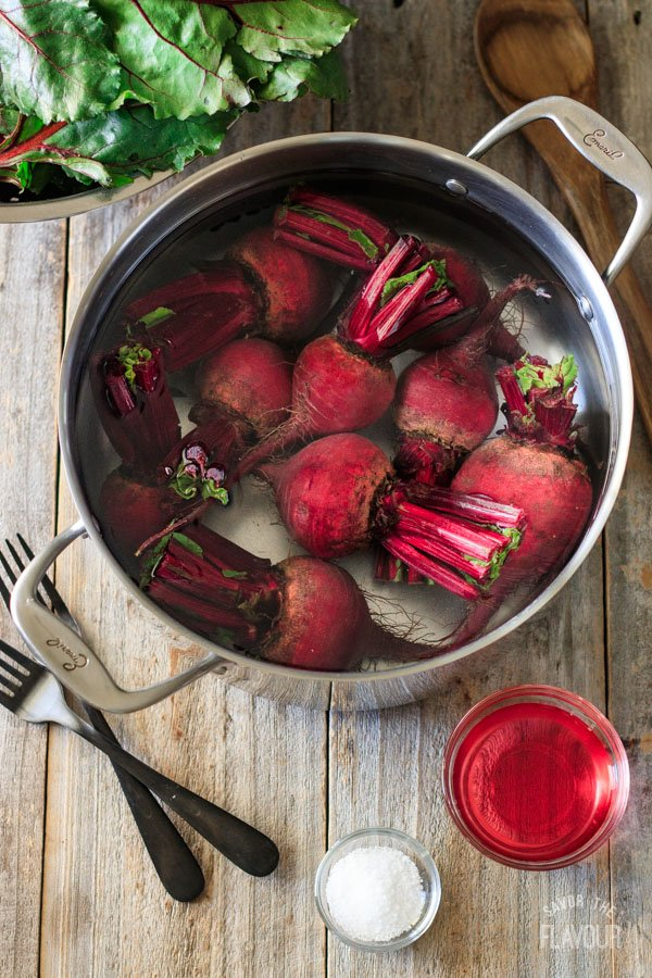 beets in a pot of water