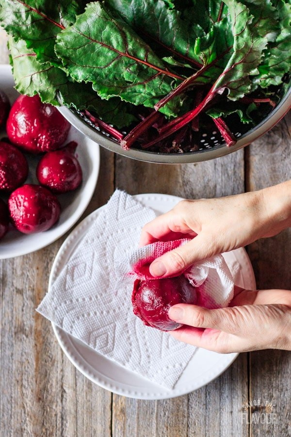 taking the skin off of a boiled beet