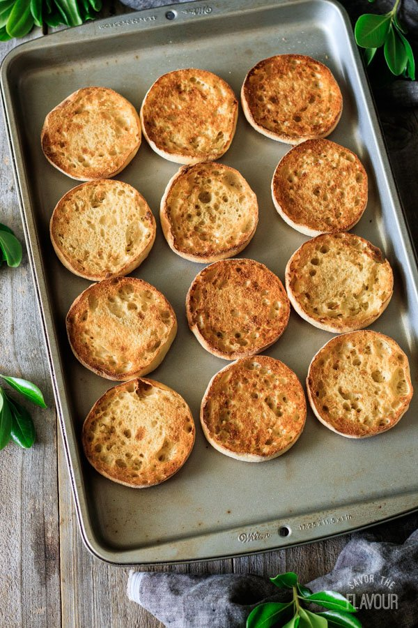 toasted English muffins for breakfast sandwiches