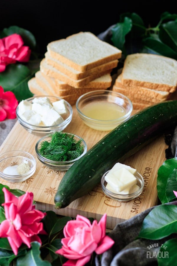 ingredients for cucumber sandwiches