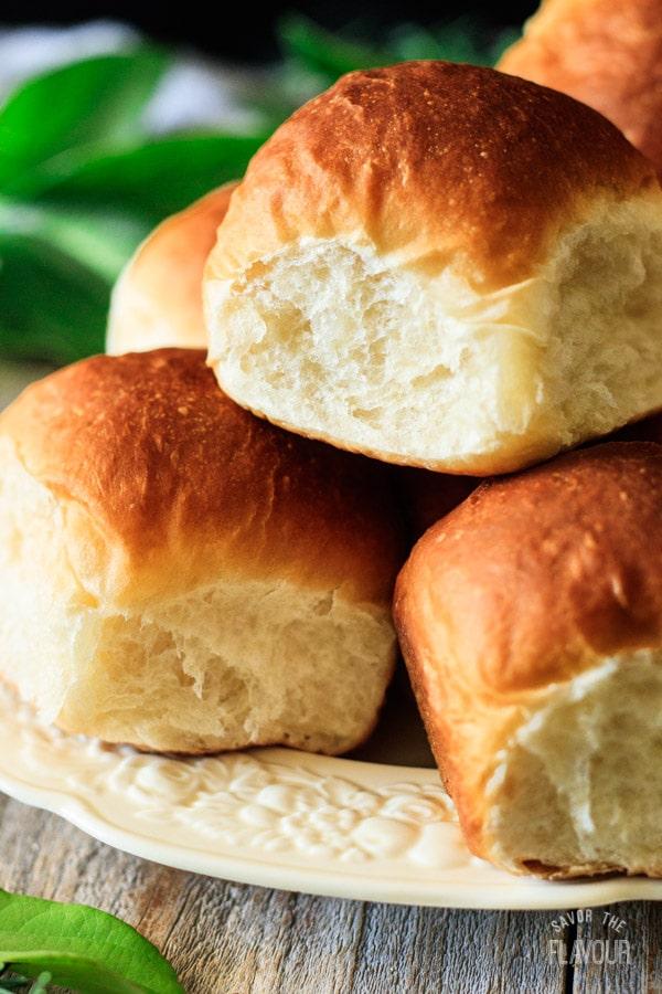 closeup of one of the Hawaiian sweet rolls