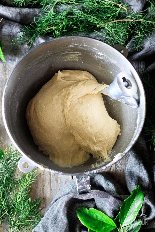 kneading dough for Hawaiian sweet rolls
