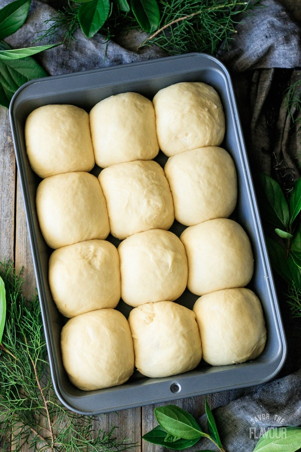 Hawaiian sweet rolls before baking