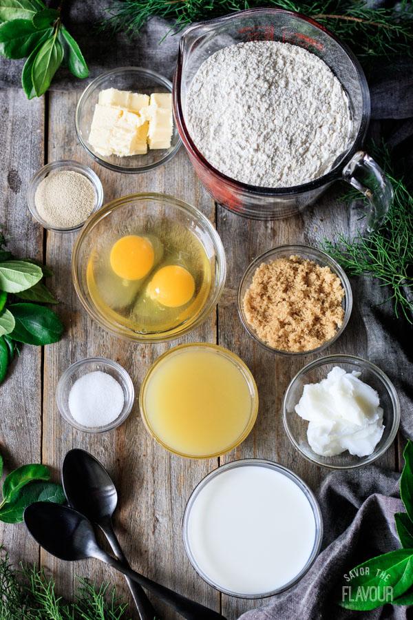 ingredients for Hawaiian sweet rolls