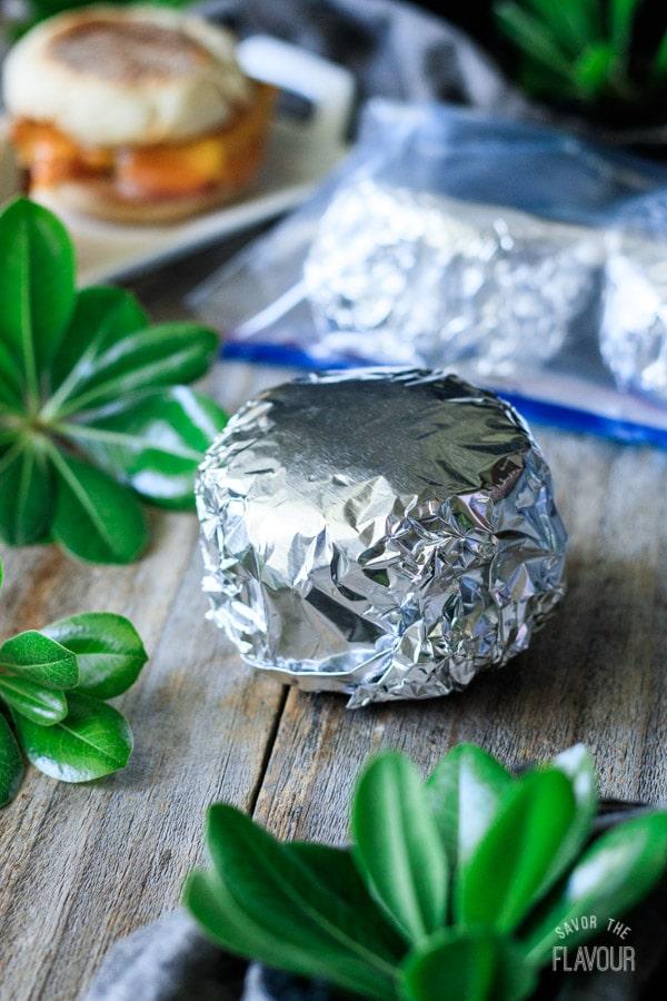 wrapping a breakfast sandwich in foil