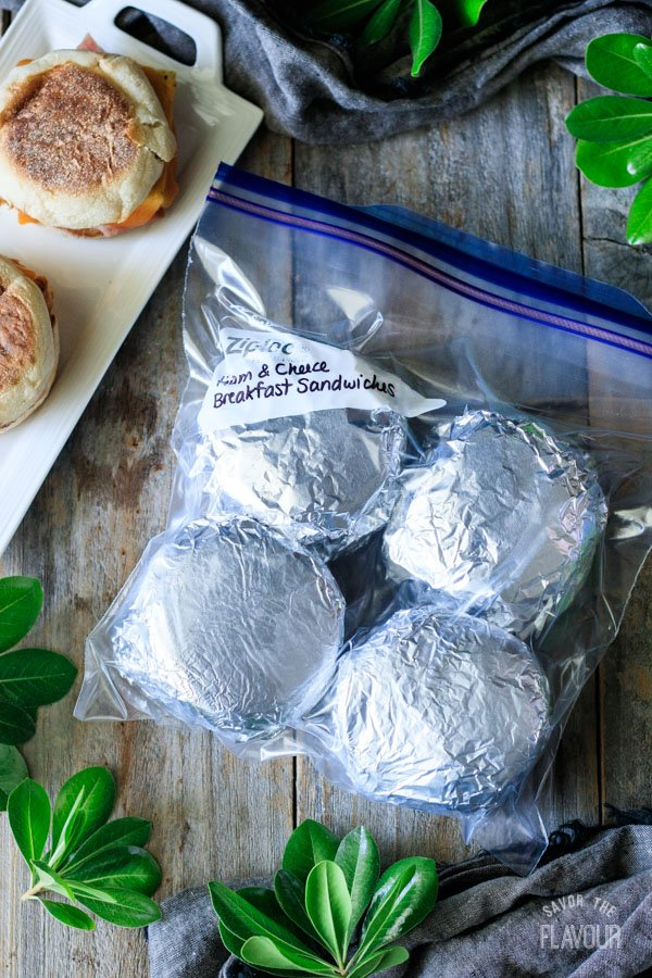 foil wrapped breakfast sandwiches in a freezer bag