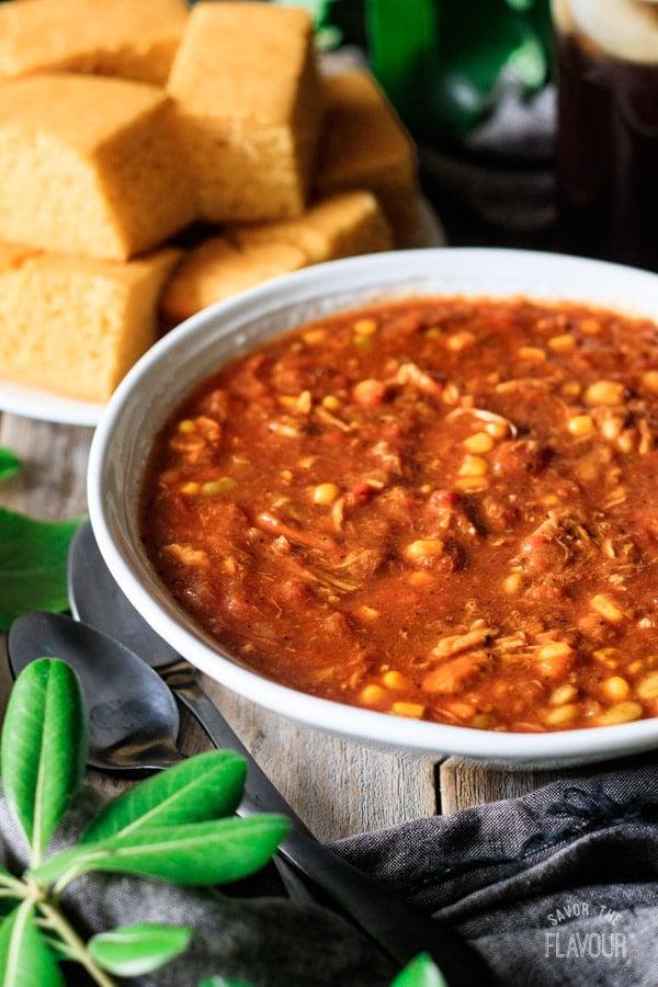 side view of Brunswick stew with cornbread