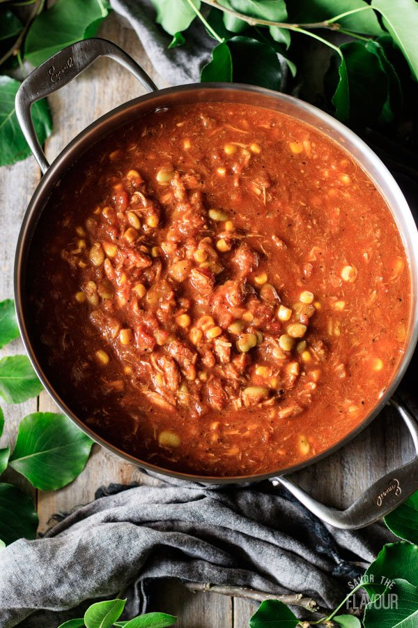 cooked Brunswick stew in a pot