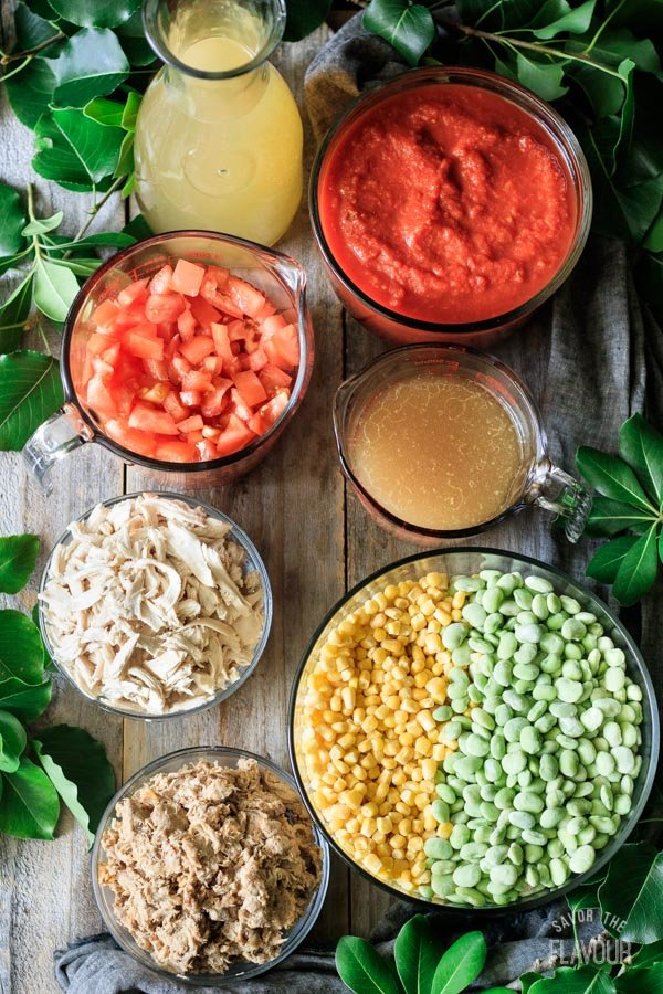 meat, veggies, and liquids for Brunswick stew
