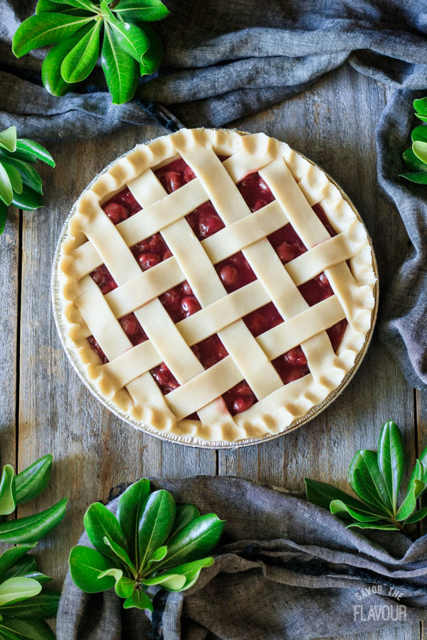 making the lattice top for a cherry pie