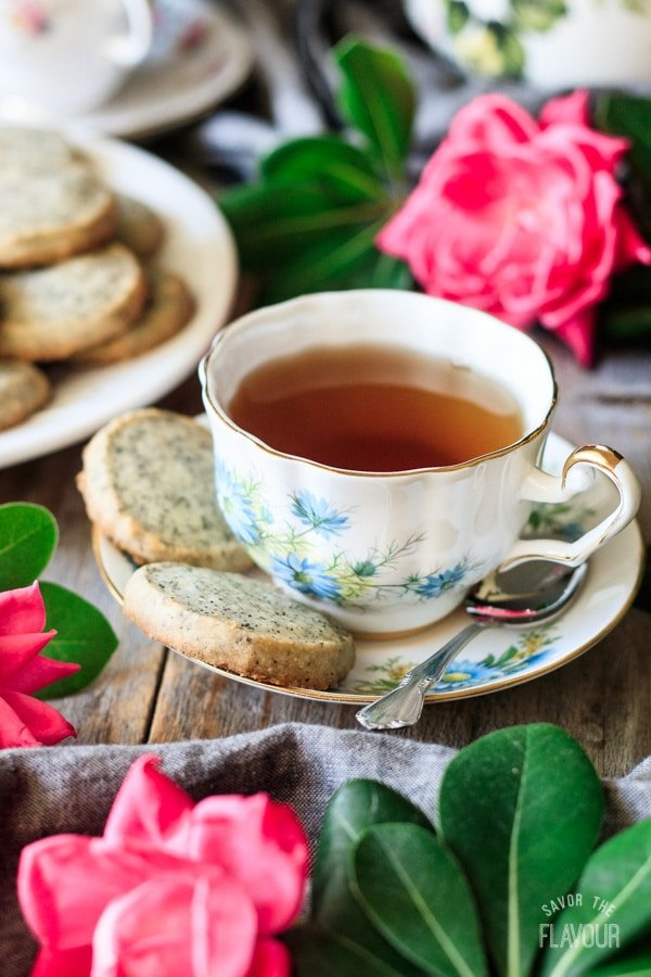 cup of tea with two Earl Grey shortbread cookies