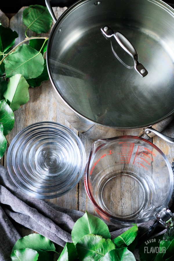 Dutch oven, glass bowls, glass measuring cup