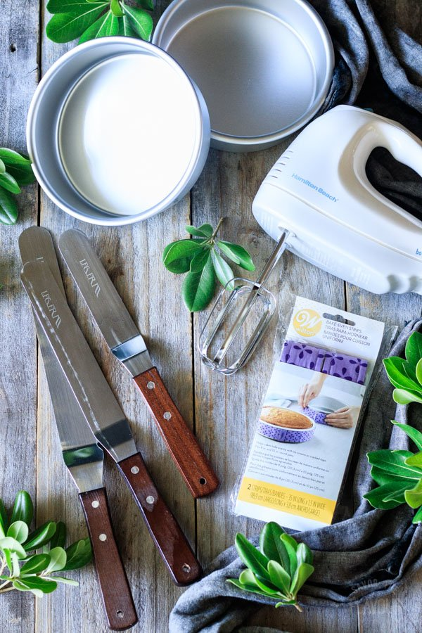 angled spatulas, cake strips, cake pans, and electric mixer