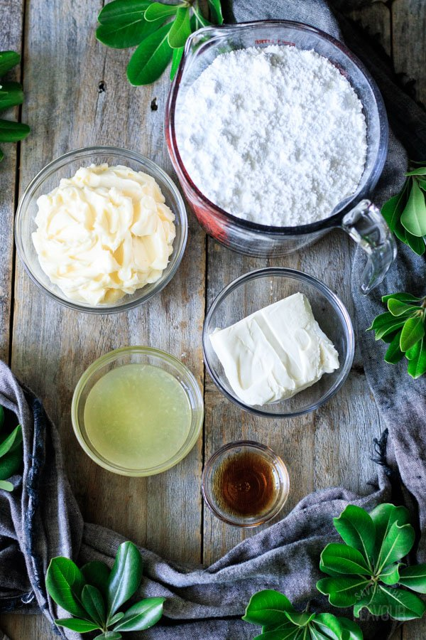 ingredients for lemon cream cheese buttercream