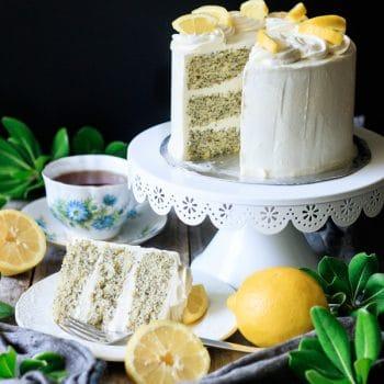 slice of lemon poppy seed cake with the cake