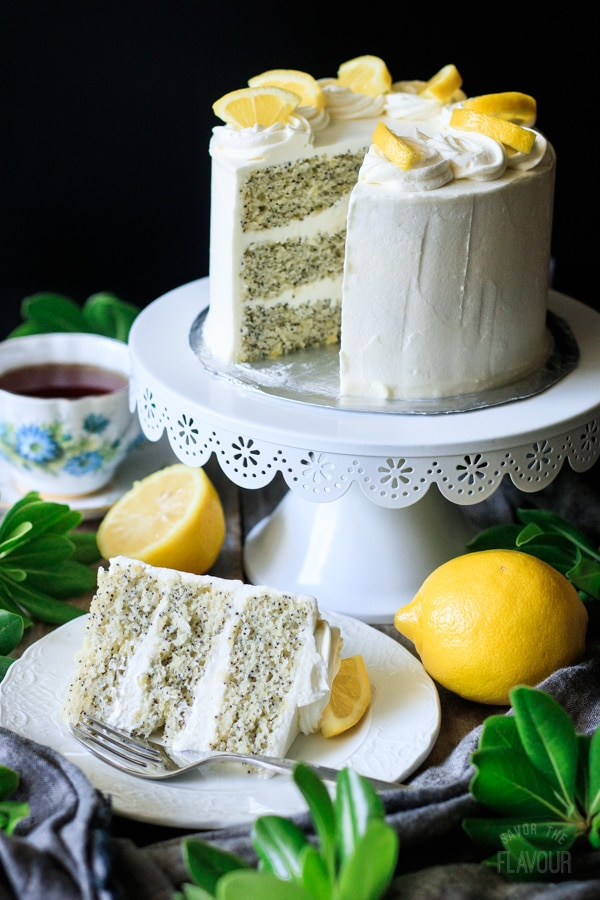 slice of lemon poppy seed cake on a plate