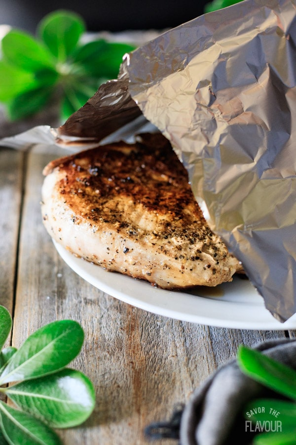 tenting seared pork chops with foil