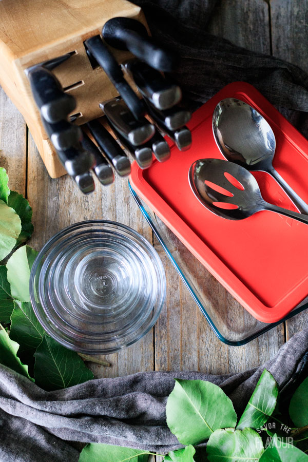 spoons, knife set, bowls, glass storage container