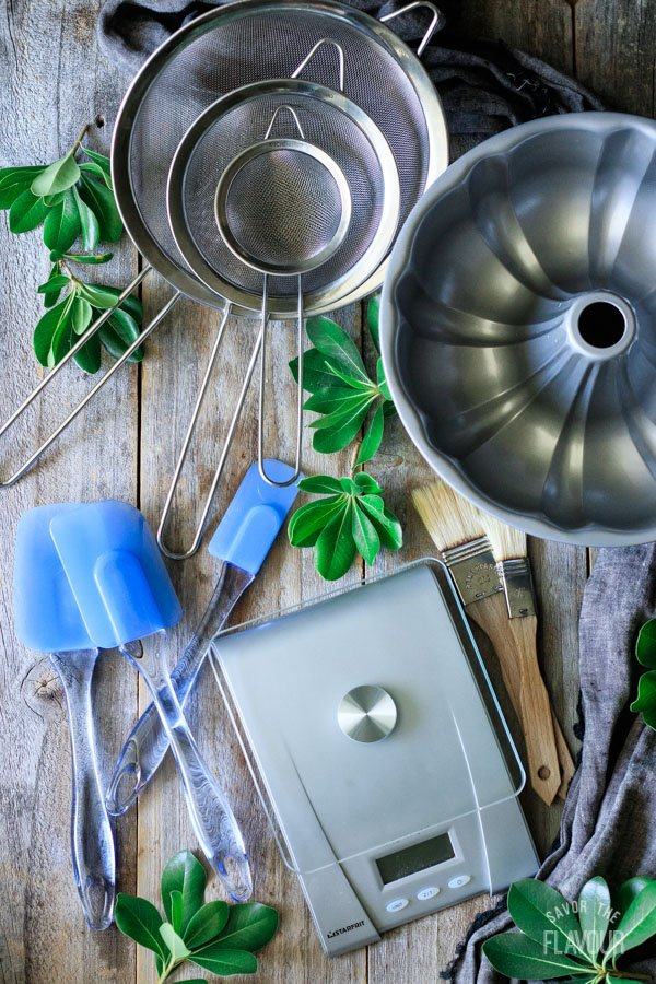 bundt pan, sieves, spatulas, kitchen scale, and pastry brushes