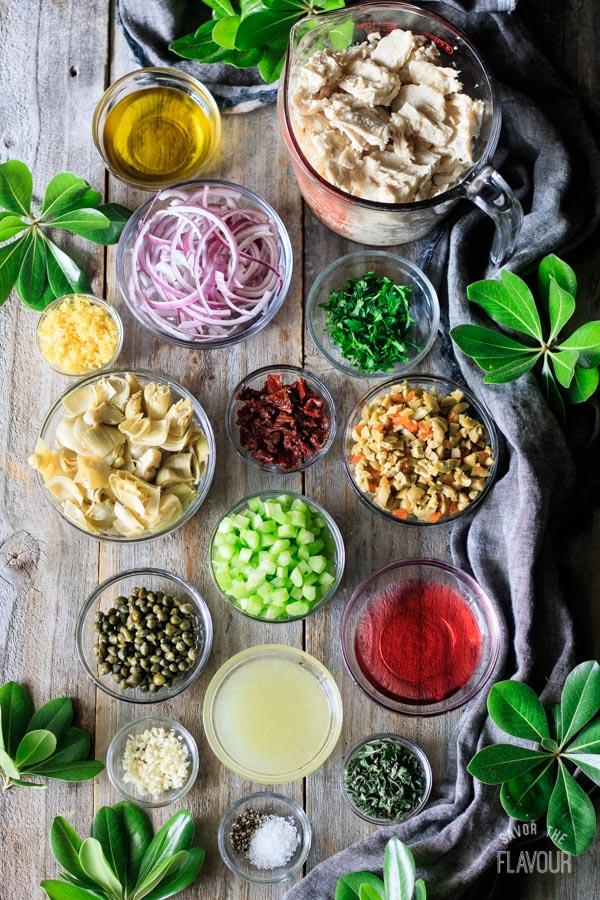 ingredients for Sicilian tuna salad