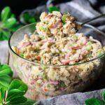 holding a spoonful of Sicilian tuna salad