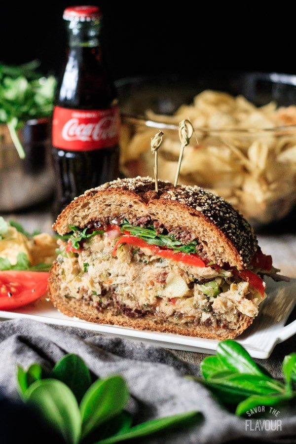 Sicilian tuna salad sandwich on a plate