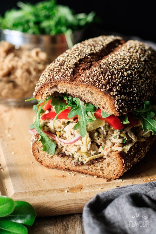 assembled Sicilian tuna salad sandwich