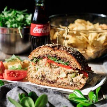 Sicilian tuna salad sandwich with chips and Coke