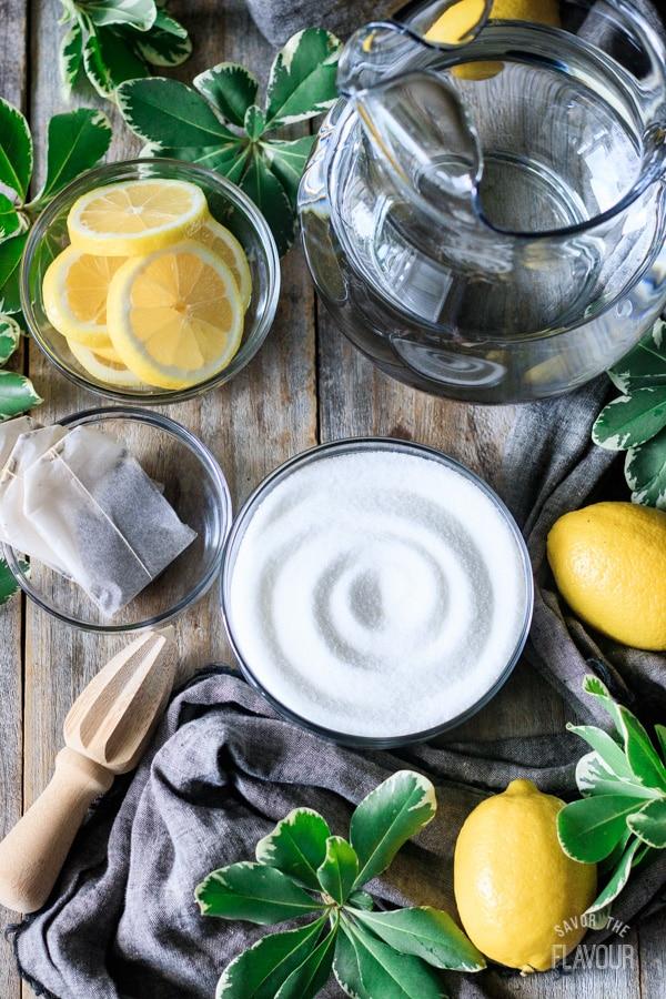 ingredients for making sweet tea