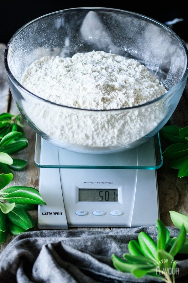 bowl of flour on a scale