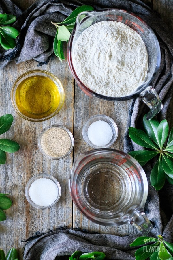 ingredients for homemade pizza dough