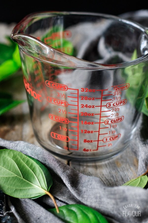 side view of a glass measuring cup