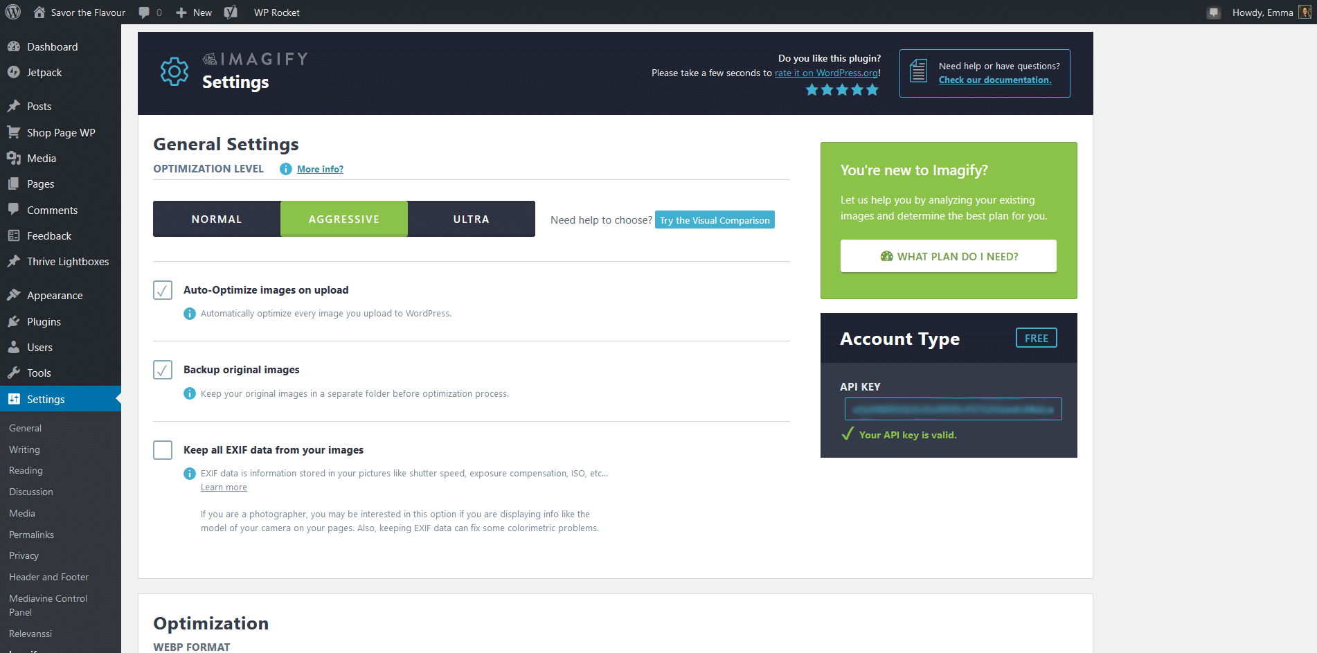 screenshot of Imagify settings in the WordPress dashboard