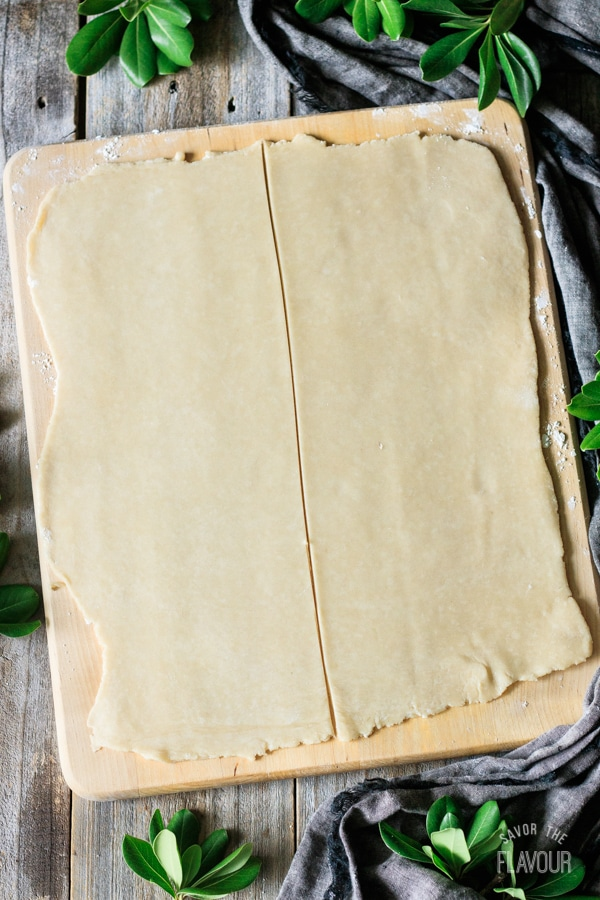 two rectangles of puff pastry on a cutting board