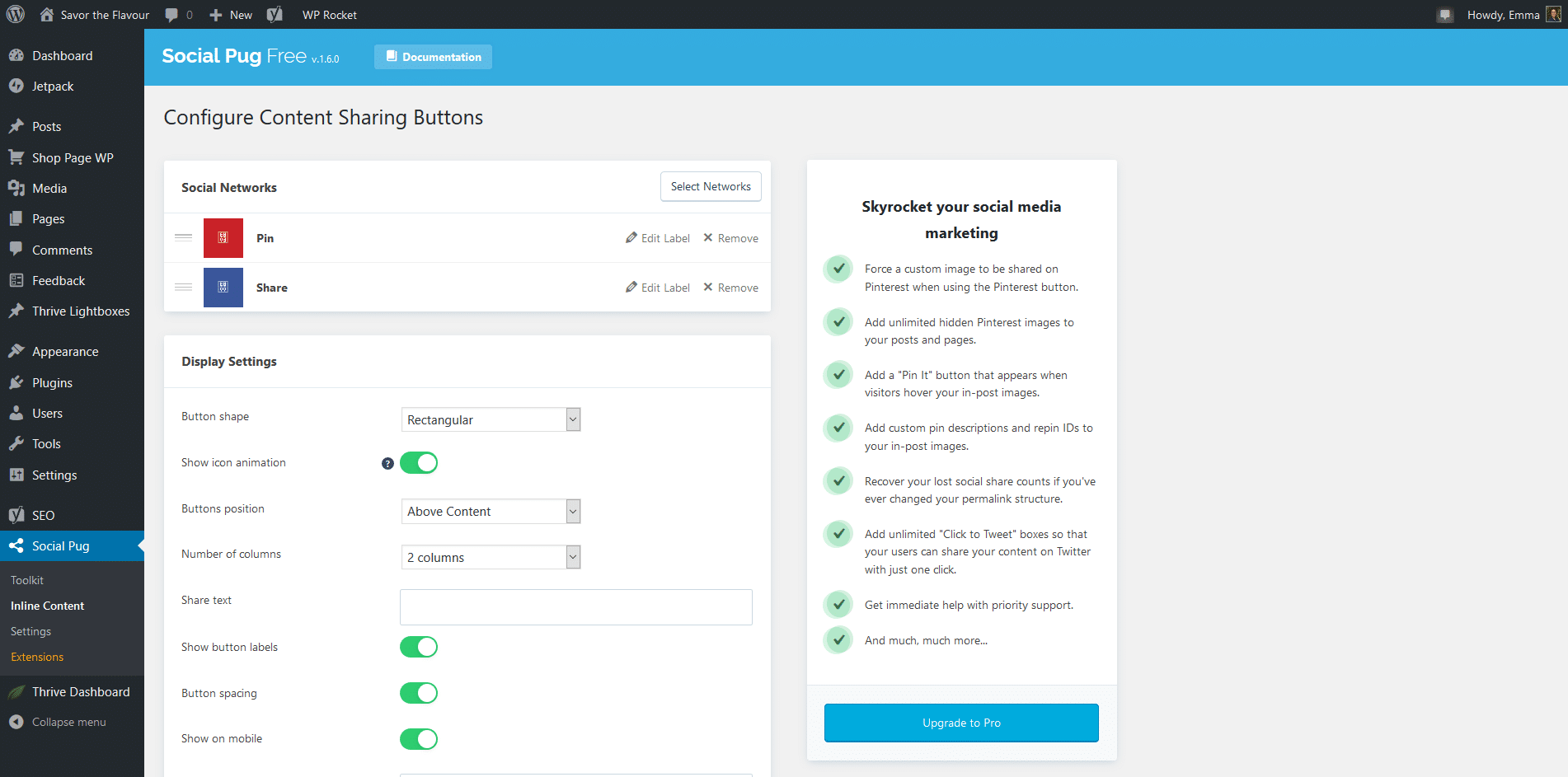 Social Pug settings in WordPress dashboard