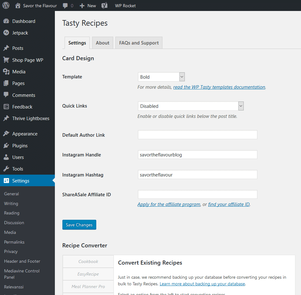 Tasty Recipes settings in WordPress dashboard