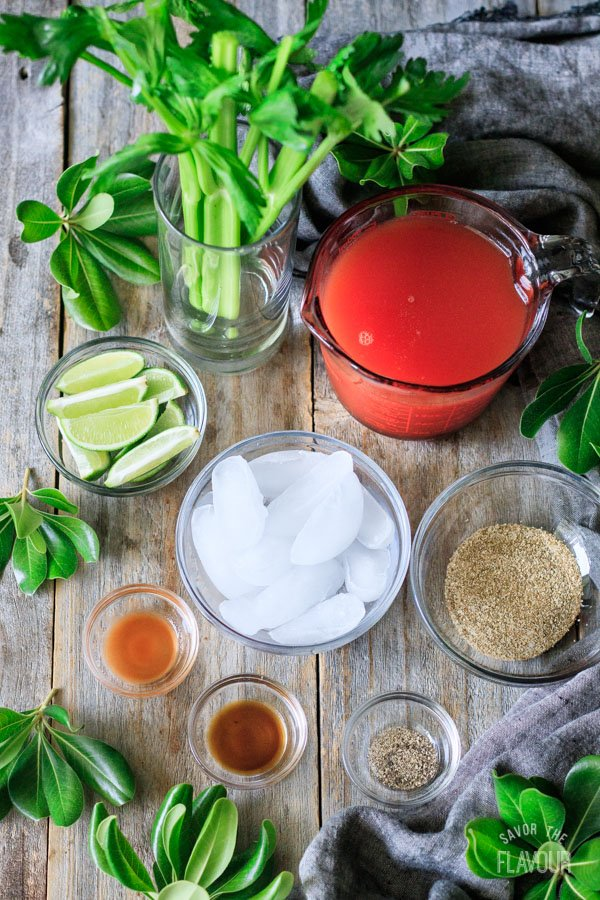 ingredients for Caesar mocktail
