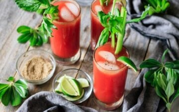 three glasses of Caesar mocktail