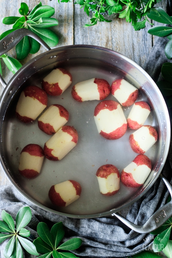 boiling red potatoes in a large pot