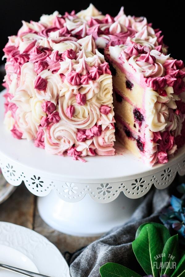 slice of cake with the lemon blueberry cake