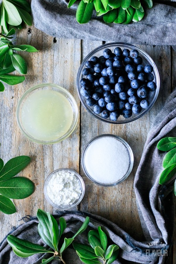 ingredients for blueberry jam