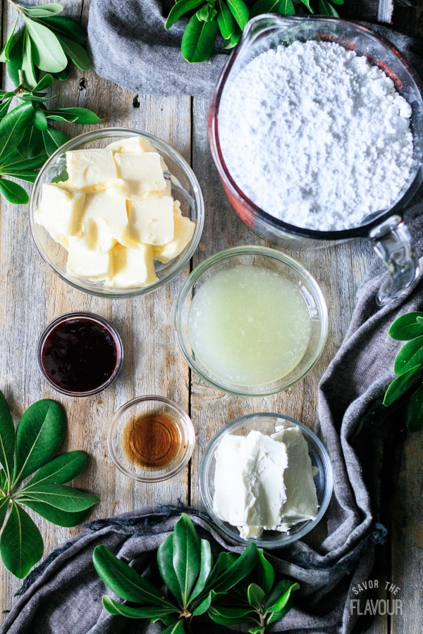 ingredients for cream cheese buttercream frosting