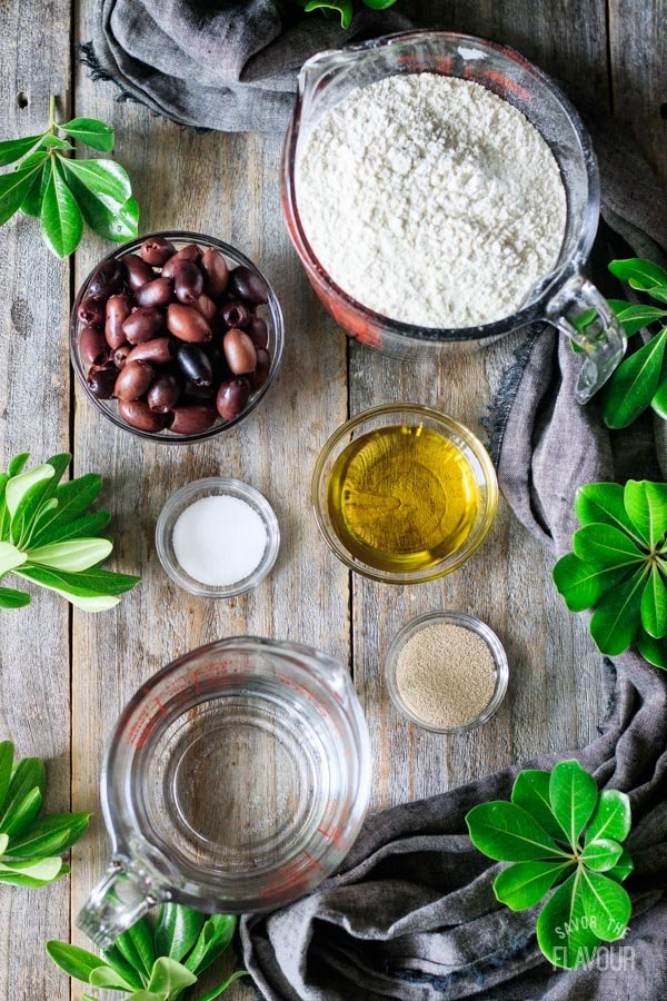 ingredients for olive bread