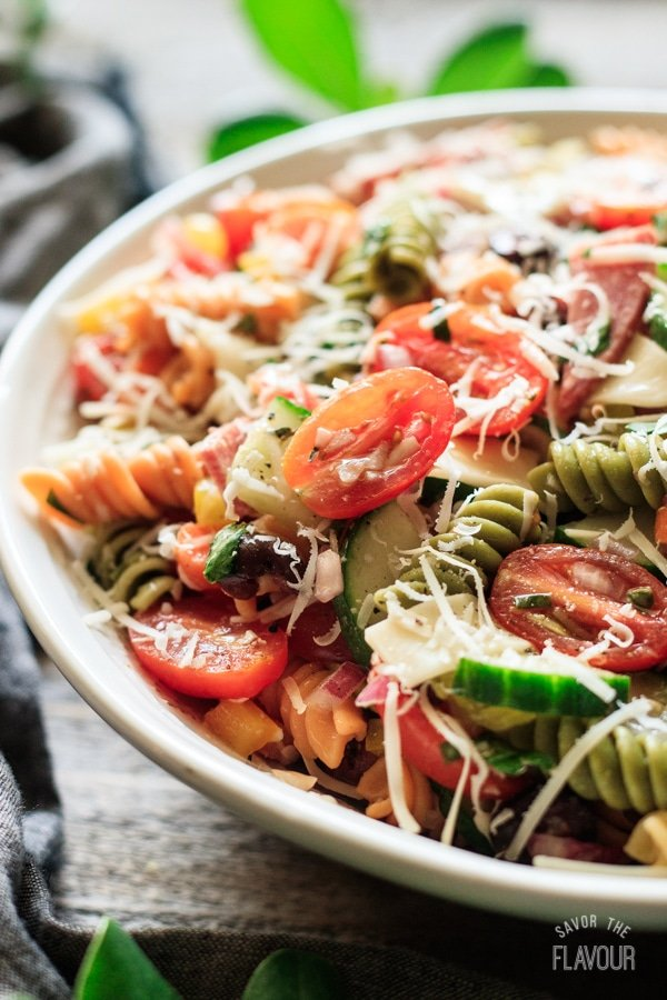 closeup of Italian pasta salad
