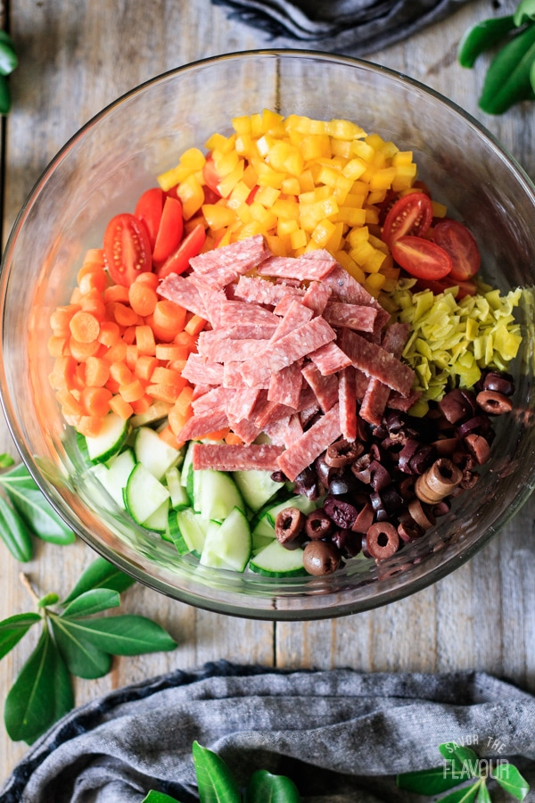veggies, olives, and meat in a bowl