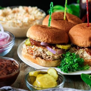 plate of pulled pork sandwiches