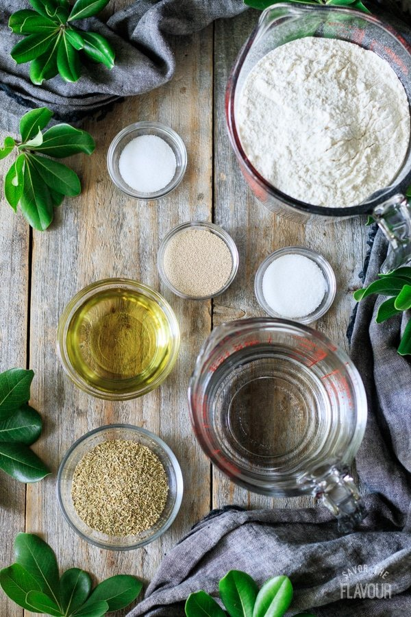 ingredients for rosemary bread